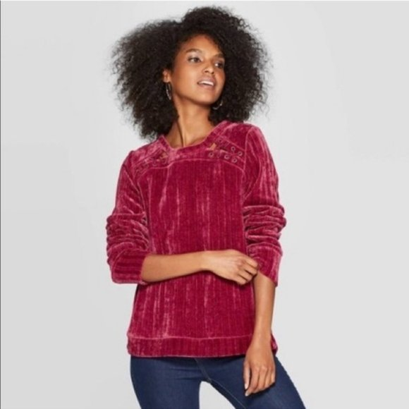Knox Rose Burgundy Chenille Lace Up Sweater L